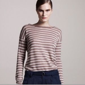Vince tan striped linen blouse